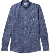 Richard James Grandad Collar Patterned Linen Shirt Blue