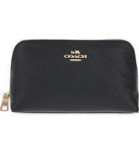 Coach Crossgrain Leather Cosmetic Case Black