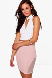 Boohoo Mesh Side Mini Skirt Blush