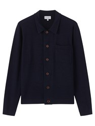 Jigsaw Merino Trucker Knit Jacket Navy Melange