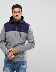 Lyle And Scott 1 4 Zip Hoodie With Colour Block In Grey Marl Mid Grey Marl