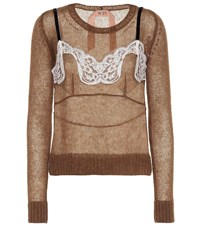 N 21 Mohair And Wool Blend Sweater Brown