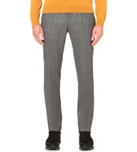 Hugo Boss Tailored Fit Tapered Wool Trousers Silver