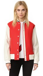 Rag And Bone Edith Varsity Jacket Red Ivory