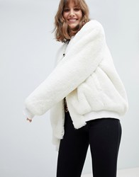 Native Rose Oversized Fluffy Bomber White