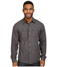 Nau Striate Long Sleeve Shirt Caviar Stripe Men's Long Sleeve Button Up Black