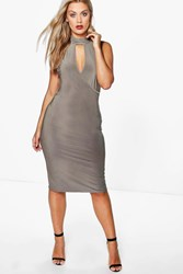 Boohoo Jenny Wrap Slinky Shirt Bodycon Dress Mocha