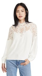 Costarellos Kelina Crepe Lace Blouse Off White