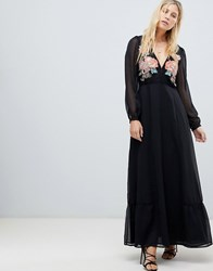 Cleobella Amarylis Embroidered Maxi Dress Black