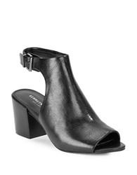 Kenneth Cole Val Leather Cutout Booties Black