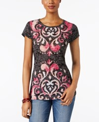 Inc International Concepts Printed T Shirt Only At Macy's Intense Pink