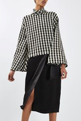 Topshop Gingham Wide Sleeve Blouse By Boutique Multi