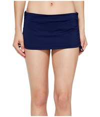 Tommy Bahama Pearl Solids Side Shirred Skirted Hipster Bottom Mare Navy Women's Swimwear