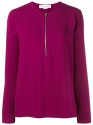 Stella Mccartney Long Sleeve Knit With Front Zip Pink And Purple