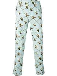 Stella Jean Bird Print Trousers Blue