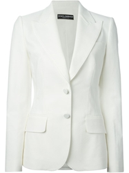 Dolce And Gabbana Patterned Fitted Blazer White