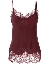 Gold Hawk Lace Detail Top Red