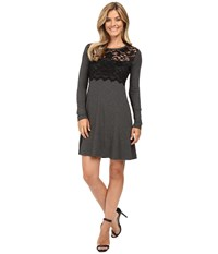Karen Kane Scallop Lace Overlay Dress Dark Heather Grey Black Women's Dress Blue