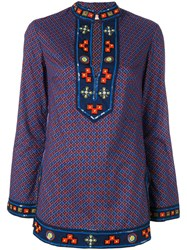 Tory Burch Embroidered Kaftan Women Cotton 6 Blue