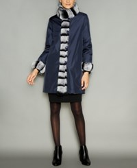 The Fur Vault Rabbit Trim Silk Reversible Coat Navy
