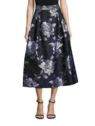 Abs By Allen Schwartz Floral Jacquard Midi Skirt Midnight Blue