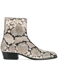 Maison Martin Margiela Replica Python Skin Print Boots Nude And Neutrals