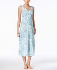 Alfani Floral Print Knit Nightgown Only At Macy's Aqua Spots
