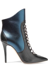 Malone Souliers Mona Paneled Leather Ankle Boots Storm Blue