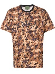 Amen Camouflage Print T Shirt Brown