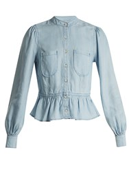 Frame Rowan Peplum Hem Shirt Light Blue