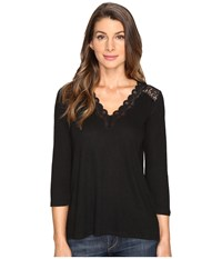 Nydj Lace Trim V Neck Knit Top Black Women's Clothing