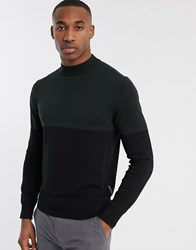French Connection Organic Cotton Colour Block Turtle Neck In Green