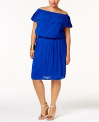 Inc International Concepts Plus Size Off The Shoulder Fit And Flare Dress Only At Macy's Goddess Blue