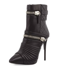 Giuseppe Zanotti Quilted Leather Pointed Toe Bootie Nero