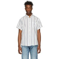 Naked And Famous Denim White Stripe Boucle Easy Shirt