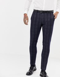 Antony Morato Slim Fit Suit Trouser In Navy Check Night Blue