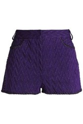 Missoni Metallic Crochet Knit Shorts Purple