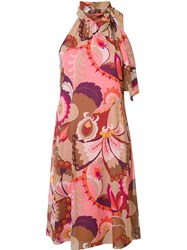 Trina Turk Halter Neck Printed Dress Pink And Purple