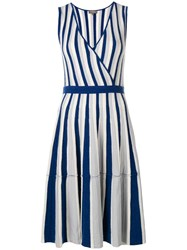 N.Peal Striped Wrap Front Dress Blue