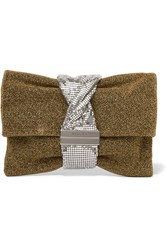 Jimmy Choo Chandra Chainmail Paneled Lurex Shoulder Bag Gold