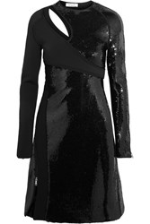 Thierry Mugler Cutout Sequined Bonded Jersey Mini Dress Black