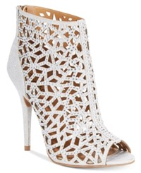 Ziginy Drift Caged Peep Toe Booties Women's Shoes Silver