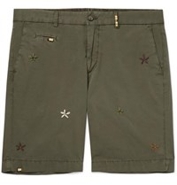 Altea Milano Slim Fit Embroidered Cotton Blend Shorts Green