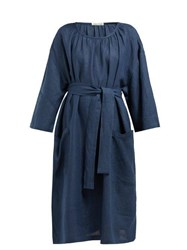Denis Colomb Tie Waist Linen Dress Navy