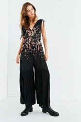Urban Outfitters Uo Midnight Extreme Wide Leg Peplum Jumpsuit Black Multi