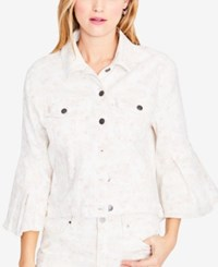 Rachel Roy Floral Print Denim Jacket Created For Macy's Pink Rose