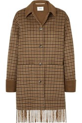 Nanushka Marzy Fringed Checked Wool And Silk Blend Coat Brown