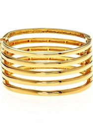 Kenneth Jay Lane 5 Row Hinged Cuff Gold Plated