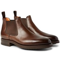 Santoni Burnished Leather Chelsea Boots Brown
