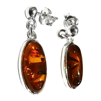 Goldmajor Amber And Sterling Silver Drop Earrings Silver